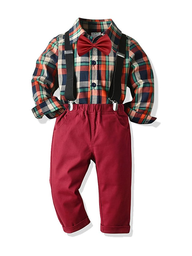 Kids Toddler Boys' Shirt & Pants Clothing Set 2 Pieces Long Sleeve Yellow Red Navy Blue Plaid Bow Print Street Casual Daily 2-8 Years