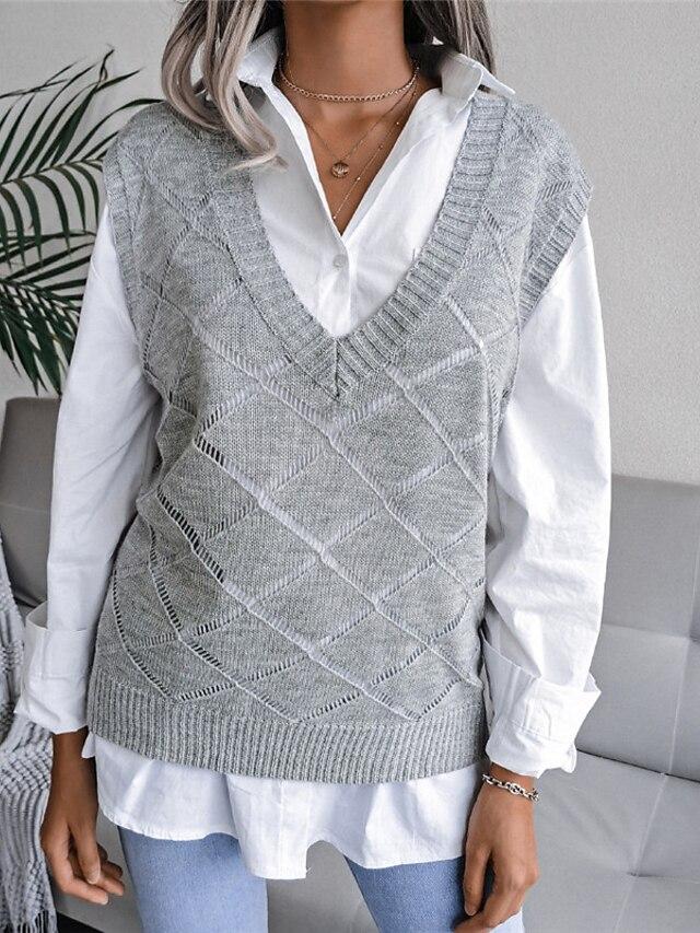 Women's Vest Sweater Knitted Argyle Stylish Casual Soft Sleeveless Sweater Cardigans V Neck Fall Winter Blue Gray White