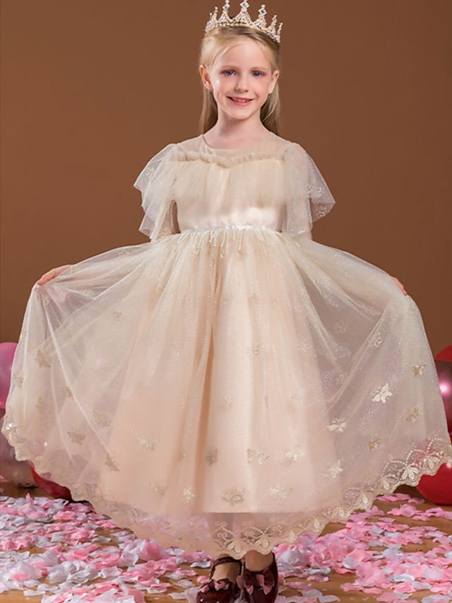 Princess Ankle Length Flower Girl Dresses Party Tulle Short Sleeve Jewel Neck with Beading
