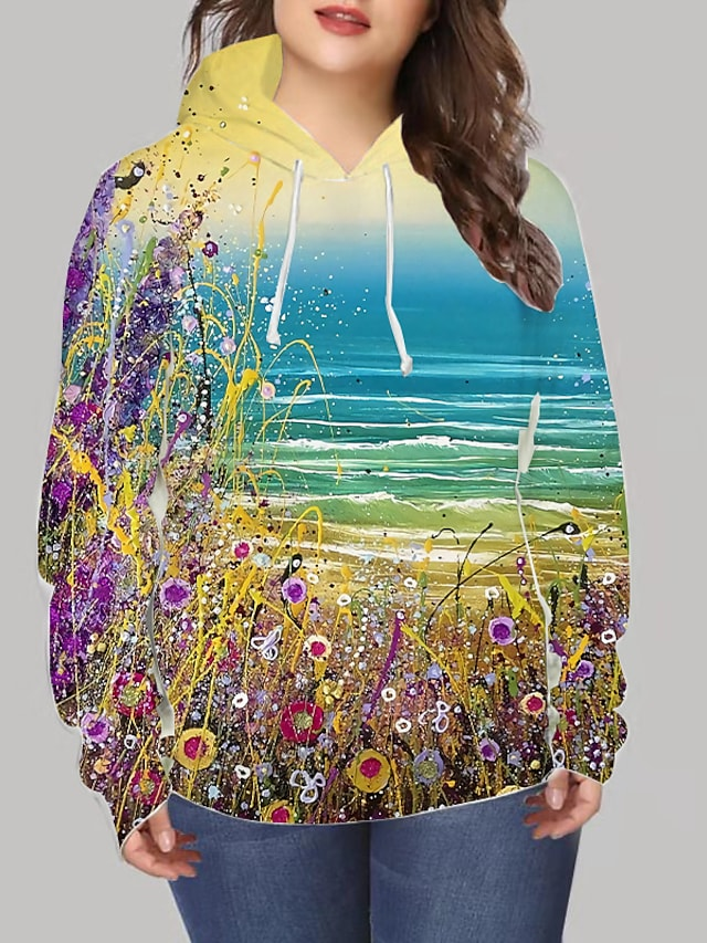 Women's Plus Size Tops Hoodie Sweatshirt Floral Graphic Print Long Sleeve V Neck Streetwear Daily Going out Spandex Winter Yellow / 3D Print