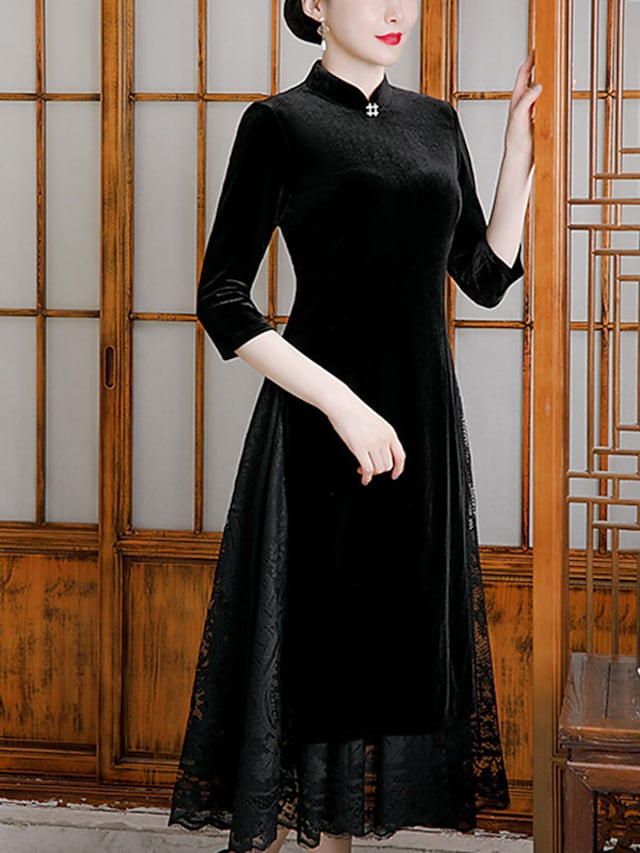 A-Line Mother of the Bride Dress Elegant Vintage High Neck Tea Length Velvet 3/4 Length Sleeve with Beading 2021