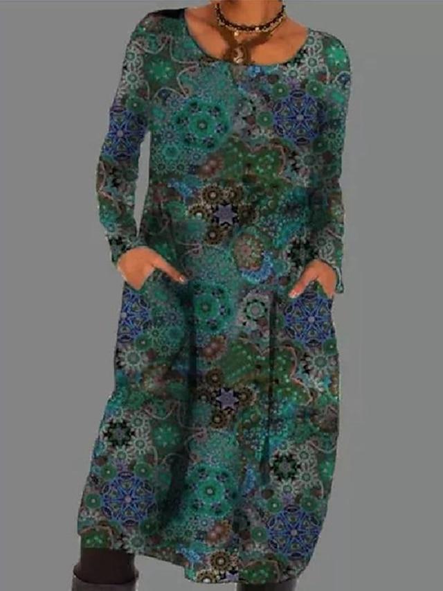 Women's Shift Dress Knee Length Dress Purple Green Long Sleeve Floral Pocket Print Fall Round Neck Casual 2021 S M L XL XXL 3XL 4XL 5XL