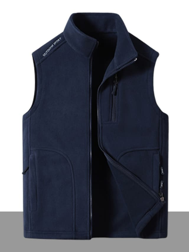Men's Vest Gilet Street Daily Going out Fall Winter Regular Coat Regular Fit Windproof Warm Breathable Sporty Casual Streetwear Jacket Sleeveless Solid Color Full Zip Pocket Blue Light Grey Green