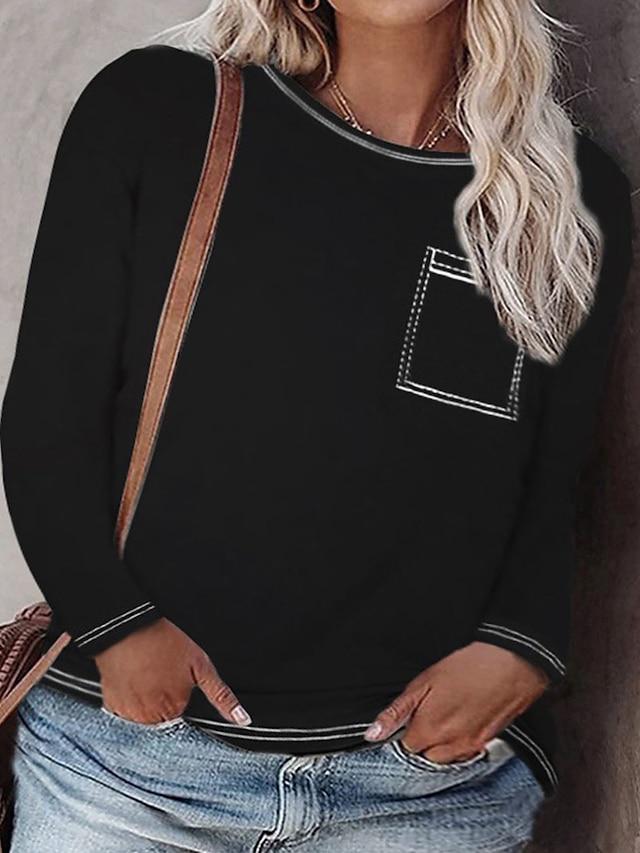 Women's Plus Size Tops Blouse Shirt Plain Pocket Long Sleeve Crewneck Basic Streetwear Daily Weekend Polyster Fall Purple Blushing Pink