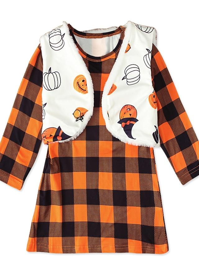 Kids Toddler Girls' Halloween Clothing Set 2 Pieces Long Sleeve Orange Plaid Pumpkin Print Street Street Style Sweet Knee-length 2-8 Years