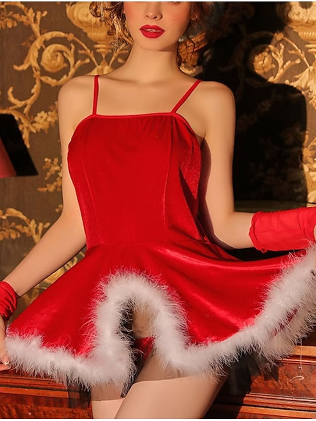 Women's Sexy Lingerie Home Christmas Basic Pure Color Spandex Plush Soft Fall Winter Straps Sleeveless Not Specified