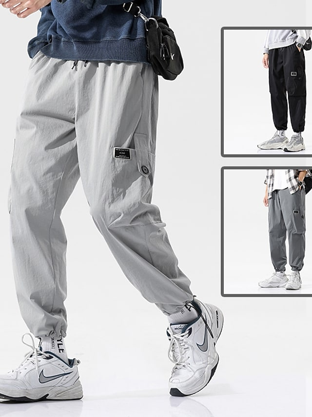 Men's Sports & Outdoors Streetwear Outdoor Sports Jogger Tactical Cargo Casual Daily Pants Solid Color Ankle-Length Multiple Pockets Grey Black Dark Gray