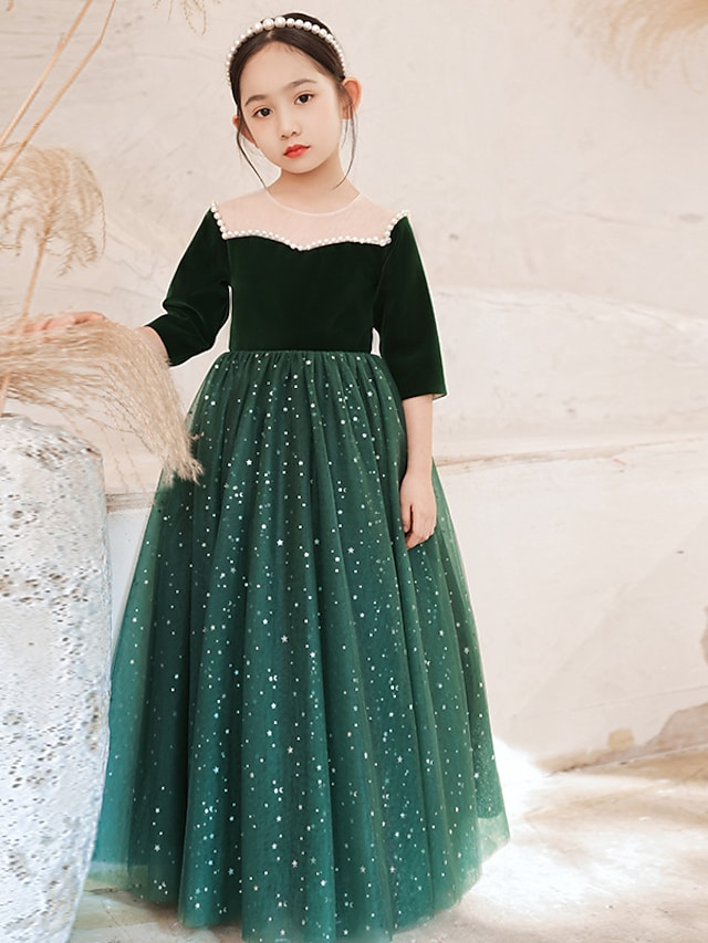 Princess Floor Length Flower Girl Dresses Party Tulle 3/4 Length Sleeve Jewel Neck with Beading