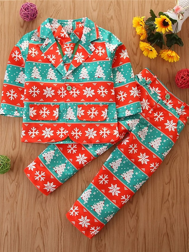 Kids Boys' Christmas Suit & Blazer Clothing Set 3 Pieces Long Sleeve Blue Red Color Block Tree Santa Claus Print Street Basic Casual 2-8 Years