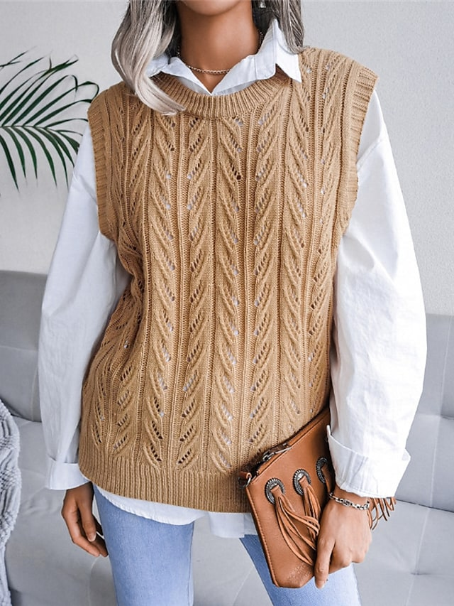 Women's Vest Sweater Knitted Solid Color Stylish Casual Soft Sleeveless Sweater Cardigans Crew Neck Fall Winter Gray Khaki White