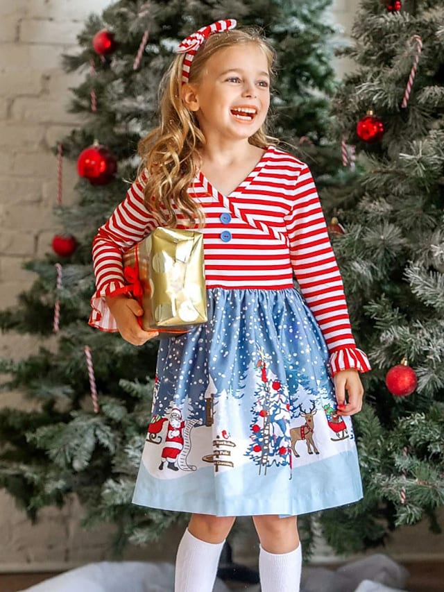 Kids Toddler Little Girls' Dress Striped Snowflake Santa Claus A Line Dress Daily Holiday Print Red Knee-length Long Sleeve Casual Cute Dresses Christmas Fall Winter Regular Fit 2-8 Years