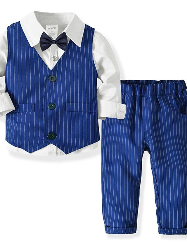 Toddler Boys' Shirt & Pants Clothing Set 4 Pieces Long Sleeve Blue Blushing Pink White Stripe Print Street Casual Gentle 2-6 Years