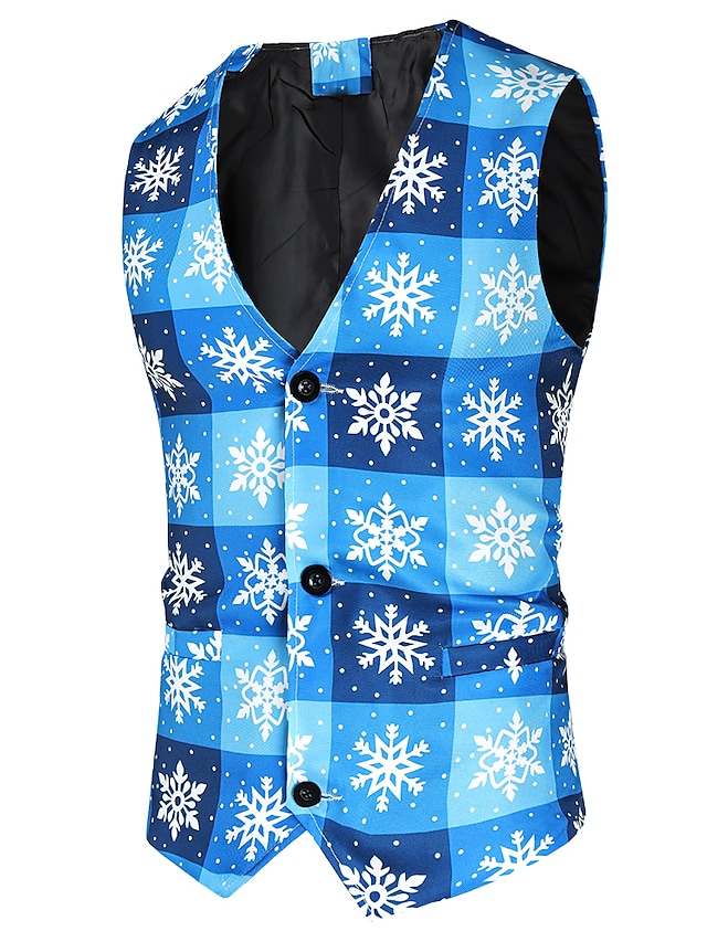 Men's Vest Gilet Christmas Daily Fall Winter Regular Coat Regular Fit Thermal Warm Warm Casual Streetwear Jacket Sleeveless Scenery Pocket Sky Blue