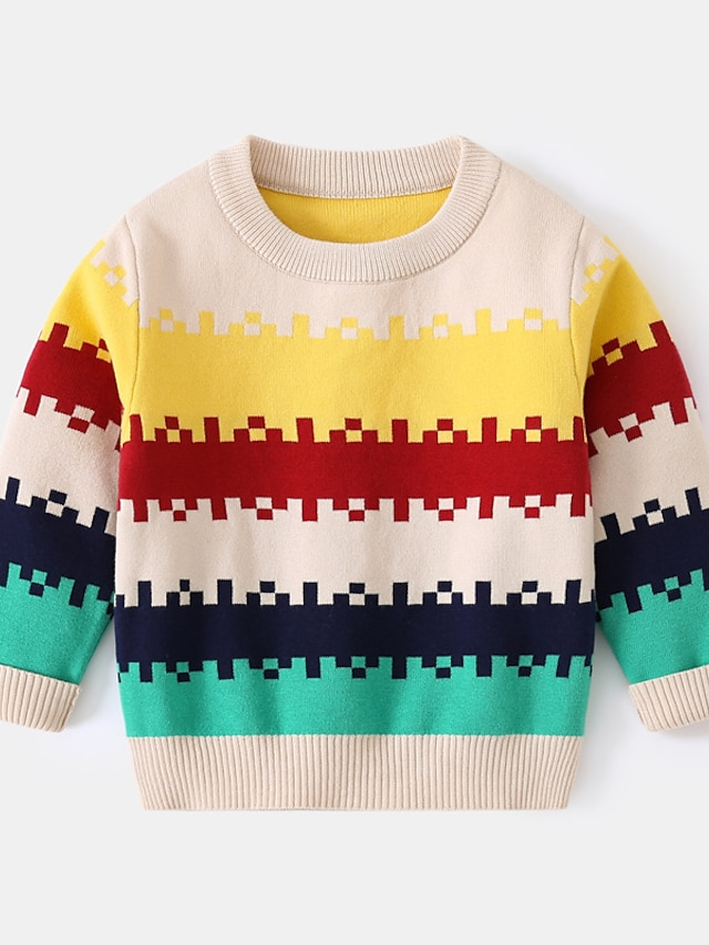 Toddler Boys' Sweater Long Sleeve Beige Color Block Geometric Ruched Patchwork Indoor Outdoor Cool Daily 1-5 Years