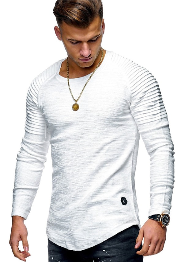 Men's T shirt Solid Color Long Sleeve Casual Tops Lightweight Fashion Slim Fit Big and Tall Army Green Gray Khaki