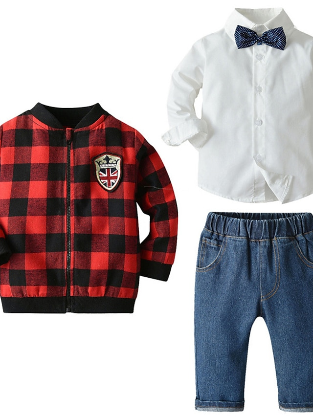 Kids Boys' Clothing Set 3 Pieces Long Sleeve Red Plaid Bow Print Street Outdoor Casual Comfort Gentle Daily Regular 1-5 Years