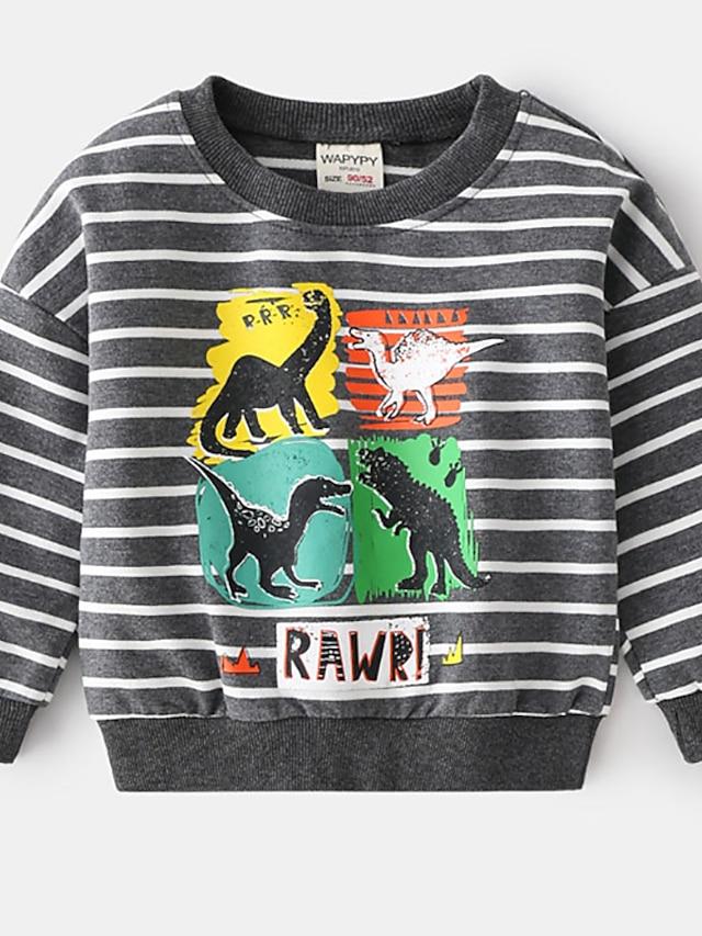Toddler Boys' Sweatshirt Long Sleeve Light gray Dark Gray Stripe Animal Ruched Indoor Outdoor Cool Daily 1-5 Years
