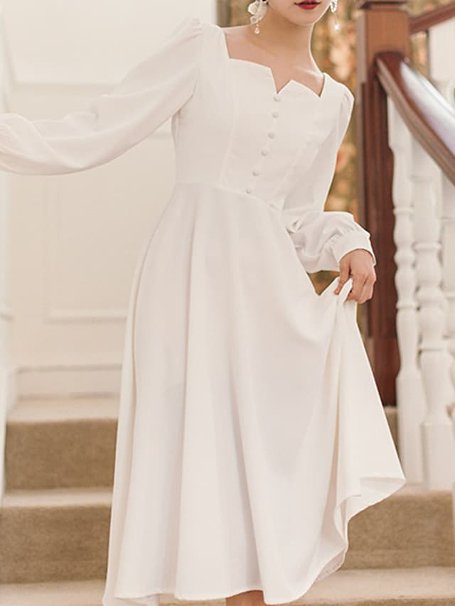 A-Line Wedding Dresses Square Neck Knee Length Stretch Satin Long Sleeve Simple Vintage Little White Dress 1950s with Buttons 2021