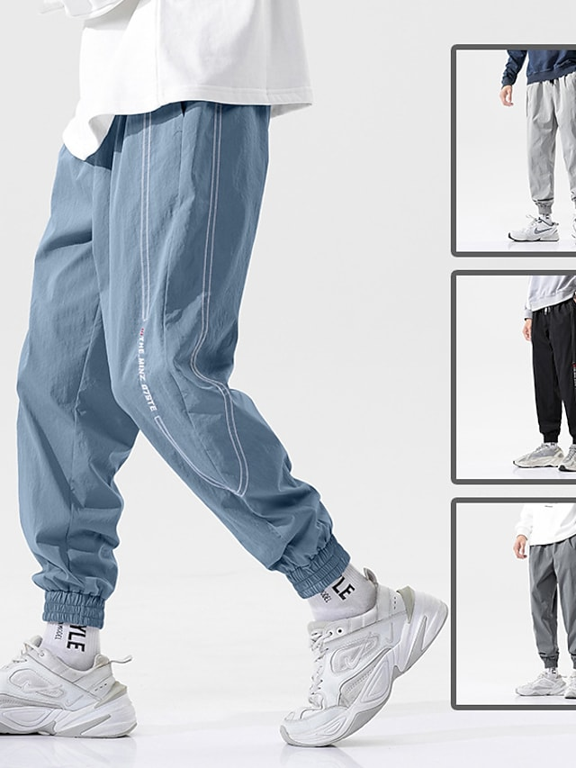 Men's Sports & Outdoors Streetwear Outdoor Sports Jogger Tactical Cargo Casual Daily Pants Solid Color Ankle-Length Multiple Pockets Light gray Black Dark Gray Light Blue