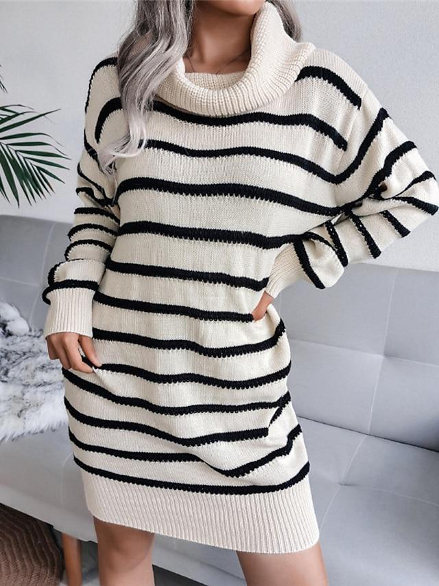 Women's Shift Dress Short Mini Dress Gray Khaki Black Long Sleeve Striped Lace up Patchwork Fall Winter Turtleneck Casual 2021 S M L
