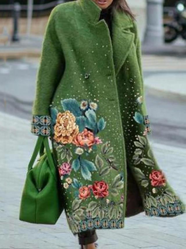 Women's Plus Size Coat Pocket Button Floral Causal Vacation Long Sleeve Turndown Long Fall Winter Green L XL XXL 3XL