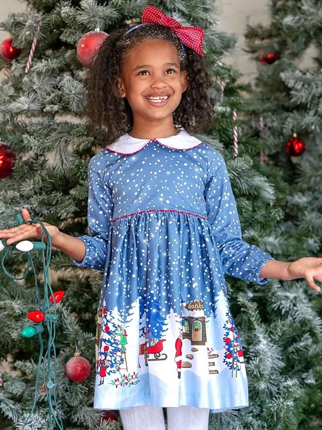 Kids Toddler Little Girls' Dress Snowflake Santa Claus Elk A Line Dress Daily Holiday Print Blue Knee-length Long Sleeve Casual Cute Dresses Christmas Fall Winter Regular Fit 2-8 Years
