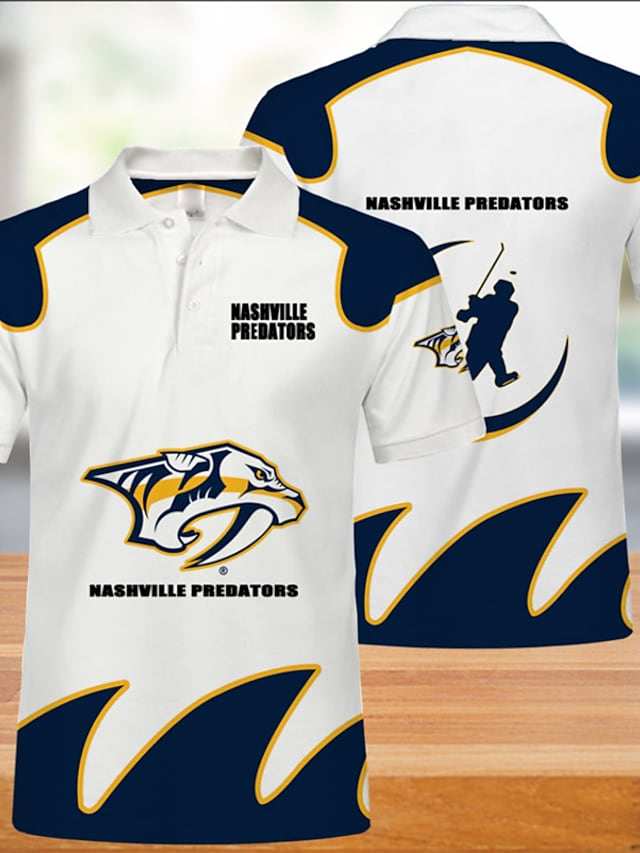 Men's Golf Shirt Cheetah Print Letter Animal Button-Down Print Short Sleeve Casual Tops Casual Fashion Cool Breathable Navy Blue