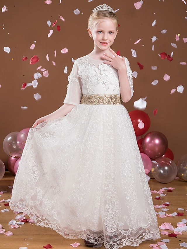 Princess Floor Length Flower Girl Dresses Party Tulle Half Sleeve Jewel Neck with Beading