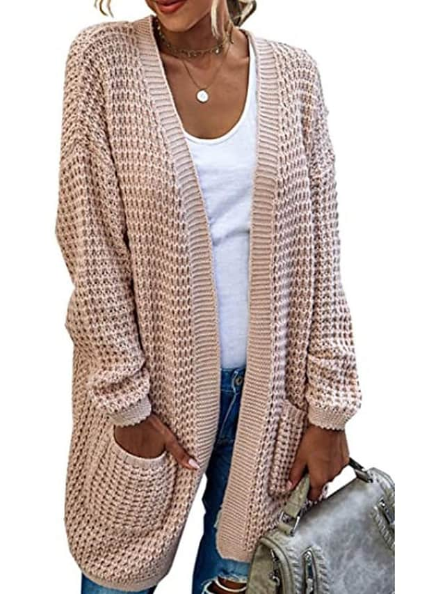 Women's Cardigan Sweater Knitted Solid Color Stylish Long Sleeve Sweater Cardigans V Neck Fall Winter Blushing Pink Gray Green