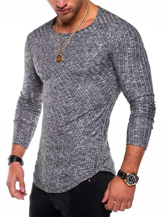 Men's T shirt Solid Color Long Sleeve Casual Tops Lightweight Fashion Slim Fit Big and Tall Purple Dark Gray