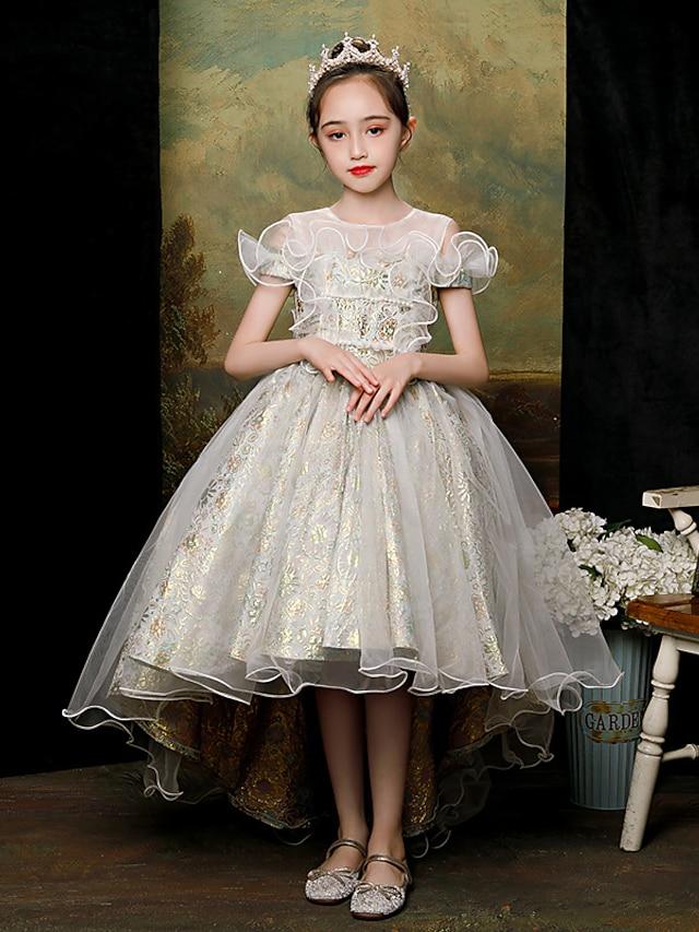 Princess Asymmetrical Flower Girl Dresses Party Satin Raglansleeve Jewel Neck with Beading
