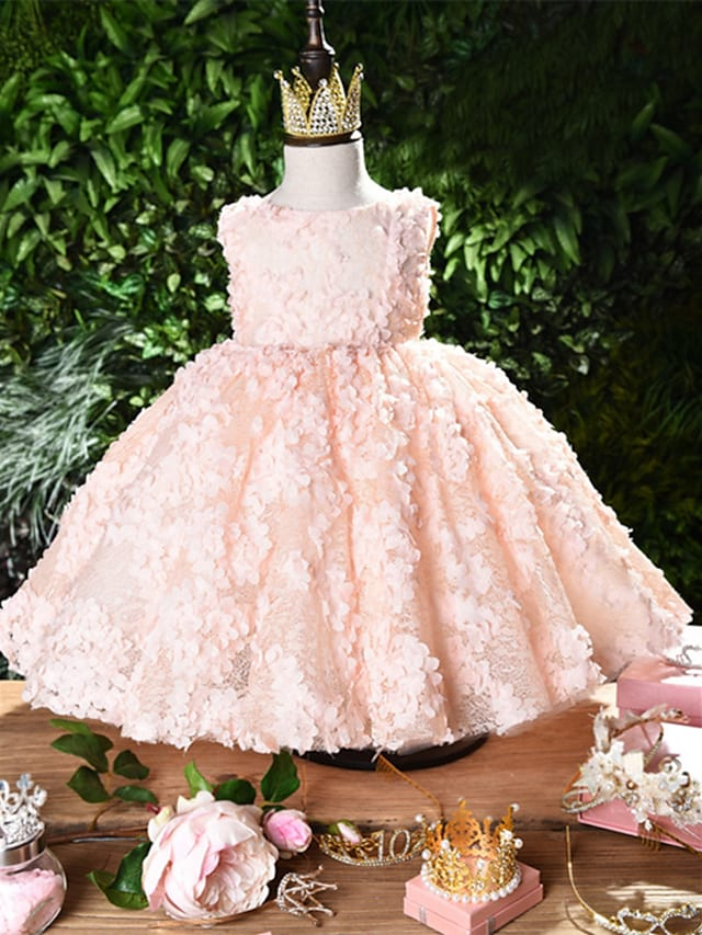Princess Knee Length Flower Girl Dresses Party Lace Sleeveless Jewel Neck with Appliques