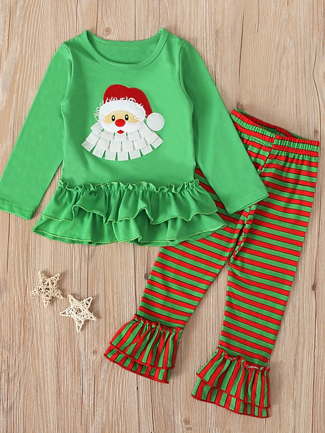 Toddler Girls' Christmas Clothing Set 2 Pieces Long Sleeve Green Stripe Santa Claus Print Street Casual Sweet 1-5 Years