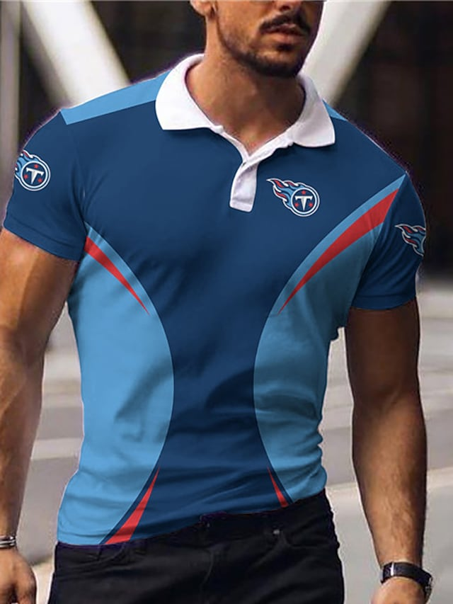 Men's Golf Shirt Color Block Letter Button-Down Print Short Sleeve Casual Tops Sportswear Casual Fashion Comfortable Blue