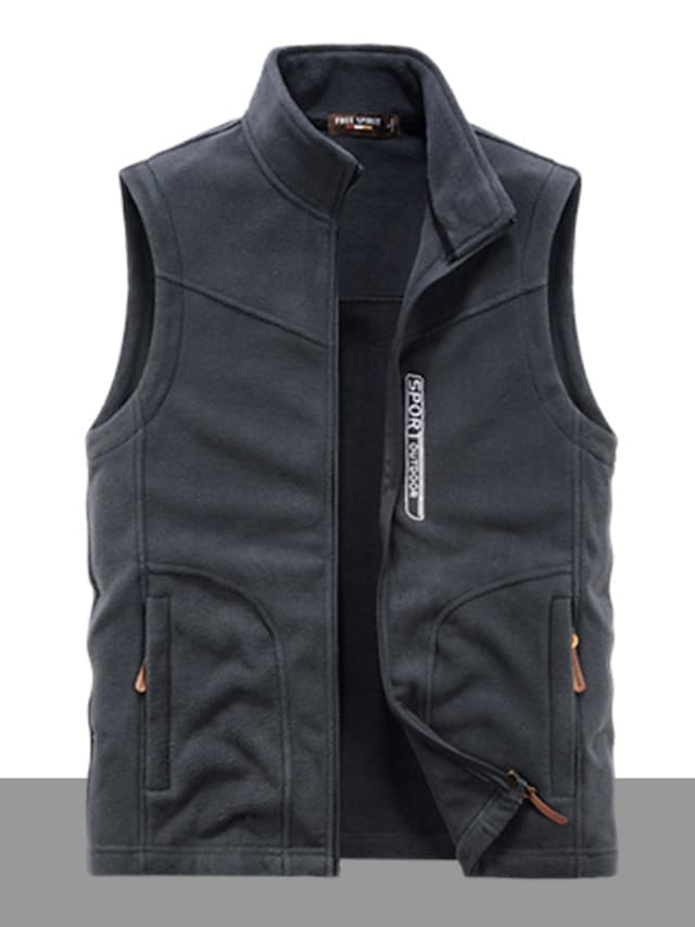 Men's Vest Gilet Street Daily Going out Fall Winter Regular Coat Regular Fit Windproof Warm Breathable Sporty Casual Streetwear Jacket Sleeveless Solid Color Full Zip Pocket Army Green Dark Grey Black