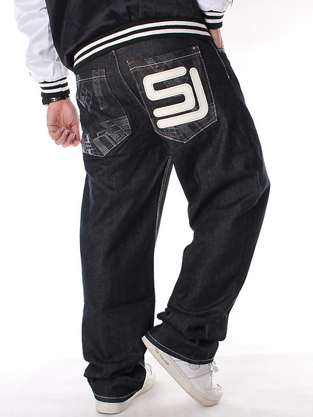 Men's Stylish Casual Comfort Outdoor Pants Jeans Casual Daily Pants Print Full Length Pocket Black