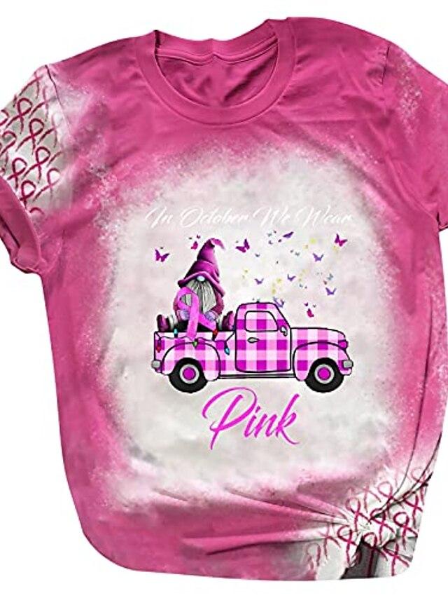 in october we wear pink breast cancer awareness women's halloween short sleeve t-shirt cute pumpkin ghost graphic tops