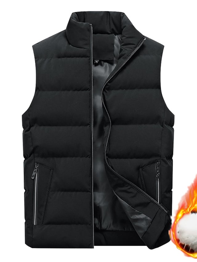 Men's Vest Gilet Street Daily Going out Fall Winter Regular Coat Regular Fit Windproof Warm Breathable Sporty Casual Streetwear Jacket Sleeveless Solid Color Full Zip Pocket Black Red Navy Blue