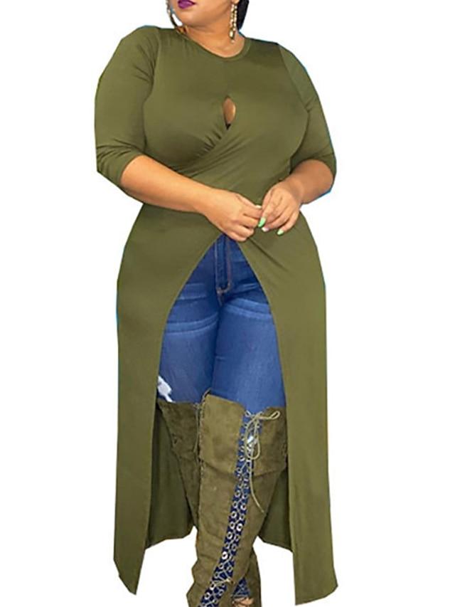 Women's Plus Size Dress Sheath Dress Maxi long Dress Long Sleeve Solid Color Split Ruched Casual Fall Summer Blue Wine Fuchsia XL XXL 3XL 4XL 5XL