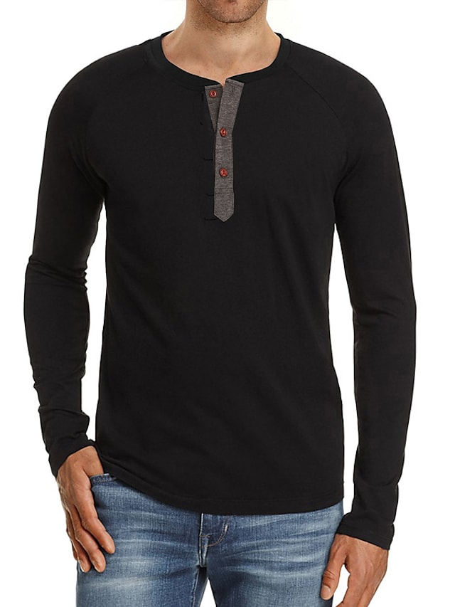 Men's T shirt Solid Color Button-Down Long Sleeve Casual Tops Lightweight Fashion Slim Fit Big and Tall Wine Blue Gray
