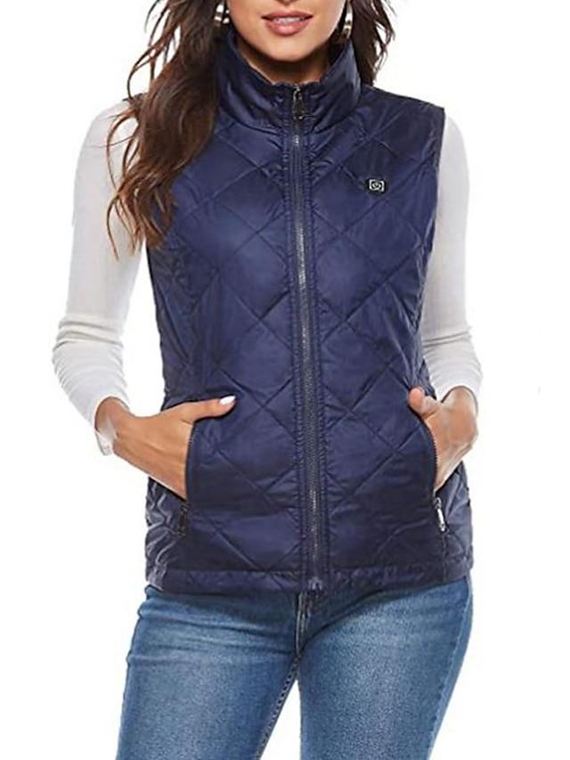Women's Vest Gilet Street Daily Going out Fall Winter Regular Coat Regular Fit Warm Casual Streetwear Jacket Sleeveless Plain Quilted Full Zip Blue Black