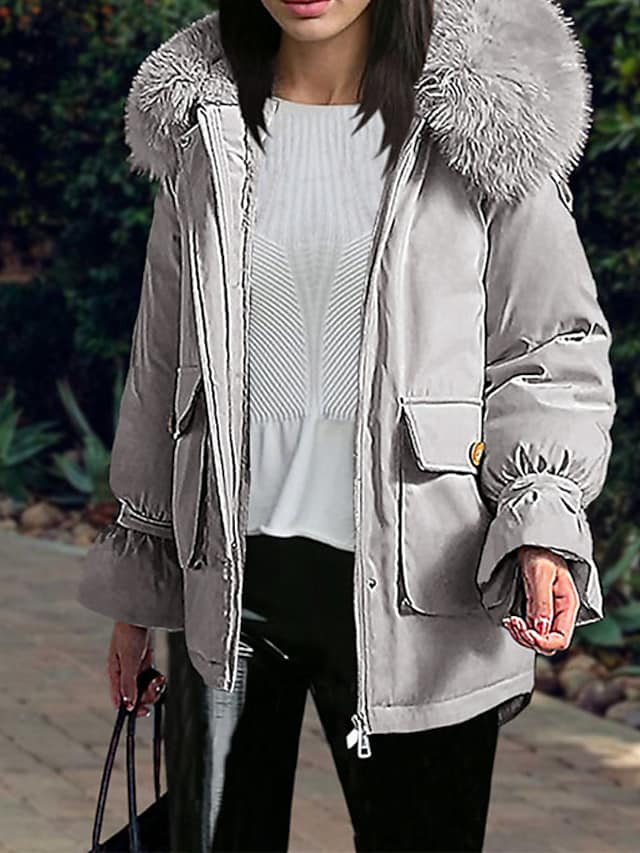 Women's Parka Street Daily Going out Fall Winter Regular Coat Regular Fit Warm Breathable Casual Jacket Long Sleeve Solid Color Full Zip Fur Trim Gray Black Coffee