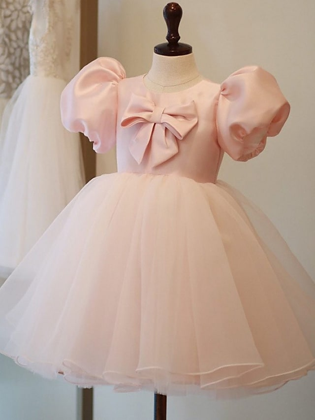 Princess Knee Length Flower Girl Dresses Party Satin Short Sleeve Jewel Neck with Bow(s)