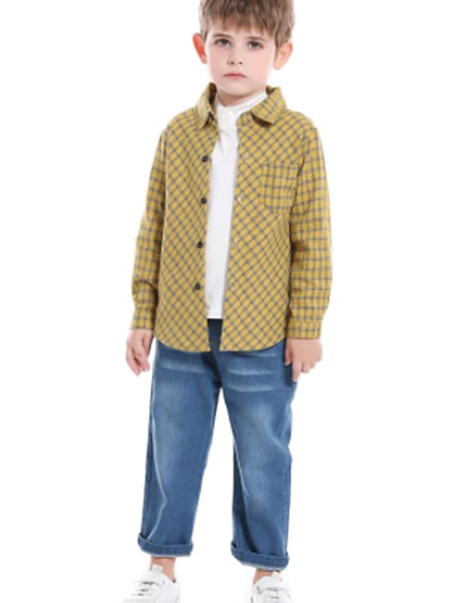 Kids Boys' Shirt & Pants Clothing Set 3 Pieces Long Sleeve Yellow Black Red Plaid Print Street Outdoor Casual Comfort Gentle Daily Regular 1-5 Years