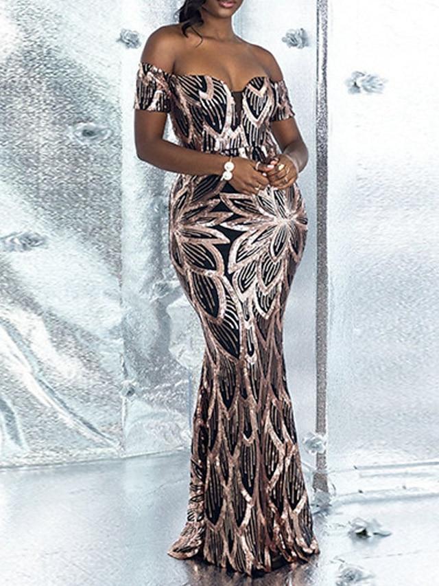 Women's Sheath Dress Maxi long Dress Black Short Sleeve Floral Backless Sequins Fall Off Shoulder Elegant Sexy 2021 S M L XL XXL / Party Dress
