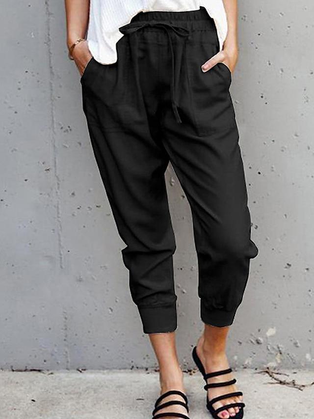 Women's Simple Harlem Pants Comfort Jogger Chinos Casual Daily Pants Solid Color Full Length Drawstring Pocket Elastic Waist Army Green Gray Orange White Black