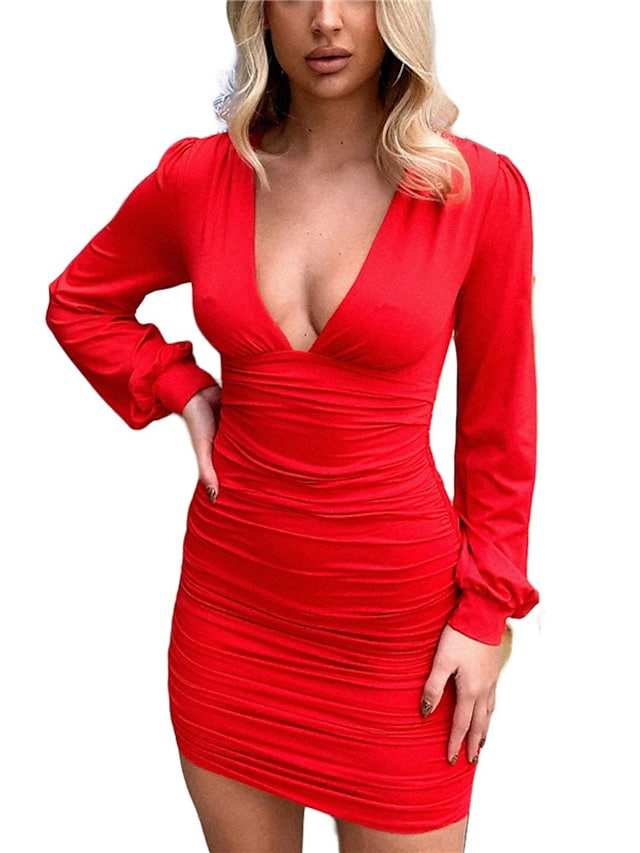 Women's A Line Dress Short Mini Dress White Black Red Beige Long Sleeve Solid Color Ruched Fall V Neck Casual 2021 S M L XL XXL