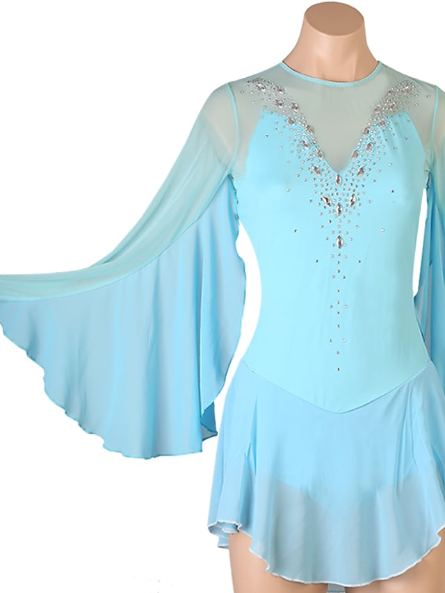 Figure Skating Dress Women's Girls' Ice Skating Dress Sky Blue Open Back Patchwork High Elasticity Training Competition Skating Wear Classic Long Sleeve Ice Skating Figure Skating