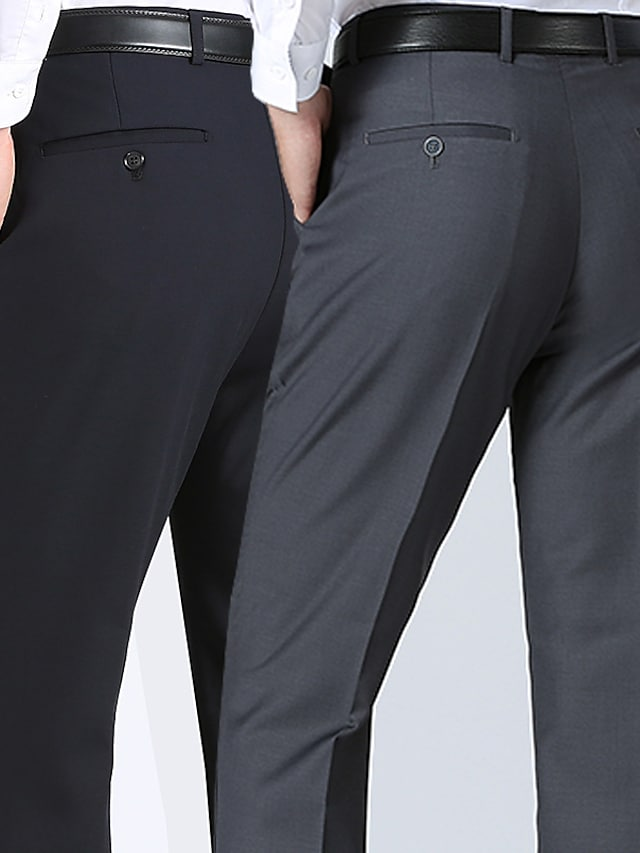 Men's Stylish Casual Soft Outdoor Business Business Daily Pants Solid Color Full Length Pocket Khaki Black Dark Gray Navy Blue