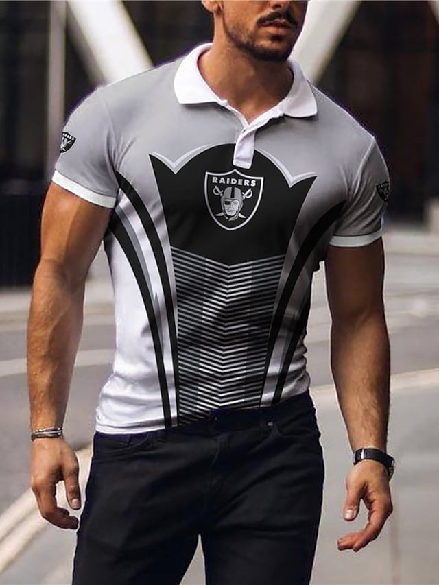 Men's Golf Shirt Color Block Letter Button-Down Print Short Sleeve Casual Tops Sportswear Casual Fashion Comfortable Gray